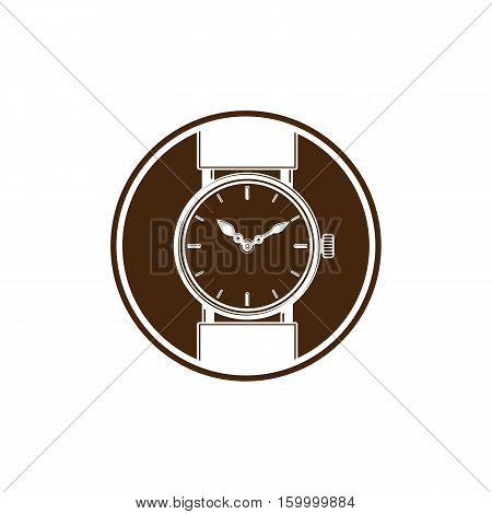 Simple Wristwatch Graphic Illustration, Classic Hour Hand Symbol. Time Management Idea Design Elemen
