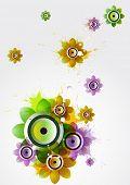 Summer flower composition with loudspeaker poster