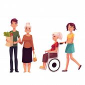 Helping grandmother with shopping and strolling her in wheelchair, cartoon vector illustration isolated on white background. Grandchildren carrying shopping bags ands strolling wheelchair for grandma poster