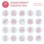 Modern vector line icons of aromatherapy and essential oils. Elements - aromatherapy diffuser, oil burner, spa candles, incense sticks. Linear pictogram with editable strokes for aromatherapy salon. poster