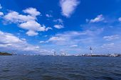 Chao Phraya River with blue sky and cloud at Samut Prakan Province poster