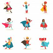 Children Pretending To Have Super Powers Dressed In Superhero Costumes With Capes And Masks Set Of Smiling Characters. Halloween Party Disguised Kids In Comics Heroes Outfits Paying And Running Vector Illustrations. poster
