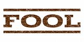 Fool watermark stamp. Text tag between horizontal parallel lines with grunge design style. Rubber seal brown stamp with dust texture. Vector ink imprint on a white background. poster
