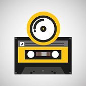 cd compact music cassette tape vector illustration eps 10 poster