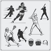 llustration of sports players. Football, baseball and lacrosse. poster