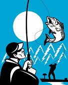 illustration of a Largemouth Bass Fish jumping being reeled by Fly Fisherman on bass boat with Fishing rod done in retro style poster