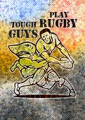 illustration of a Rugby player running with ball attacked by shark with grunge texture background and words tough guys play rugby poster