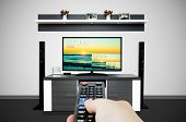 Watching television in modern TV room. Compare of television resolution. uhd 8k television resolution ultra hd concept poster