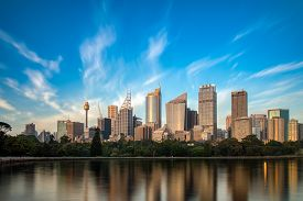 Sydney skyline on a warm spring morning overlooking the harbour