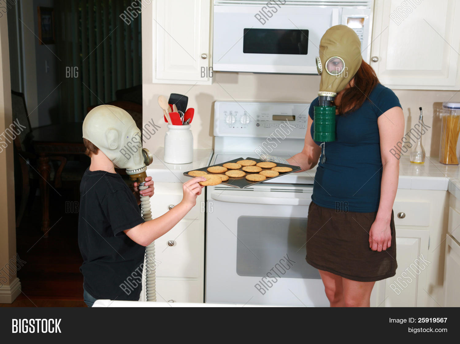 Hot mom and son in the kitchen