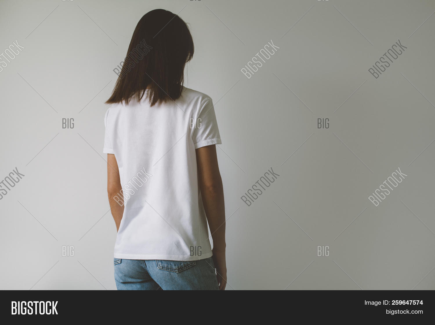 7fd37a1ebe5b Young Hipster Girl Wearing White T-shirt With Blank Space For Your Logo Or  Design