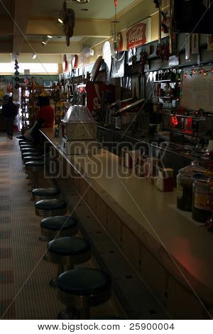 Interior of old 5&dime store with lunch counter
