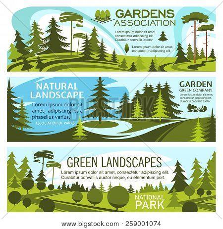 Landscape Gardening And Green Gardens Design Association Banners. Vector Design Of Horticulture Comp