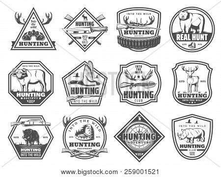 Hunting Club Icons, Hunt Open Season Or African Safari Adventure. Vector Hunter Binoculars, Elk Antl
