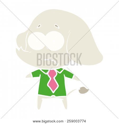 flat color style cartoon unsure elephant in shirt and tie