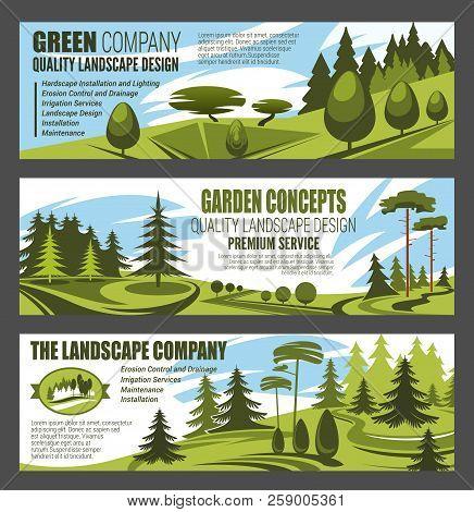 Landscape Design Premium Service, Urban Horticulture And City Eco Gardening. Vector Design Of Forest