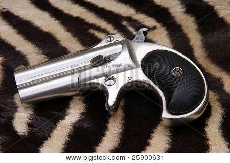Circa 1889, Model 95, Type II Model 3 Double Derringer on real zebra fur