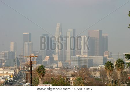 Downtown Los Angels California engulfed in Smog