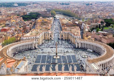 Aerial View Of Rome, Italy. Saint Peters Square In The Vatican, Rome, Italy.