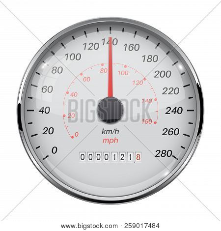 Speedometer. Speed Gauge With Metal Frame. 140 Km Per Hour. Vector 3d Illustration Isolated On White