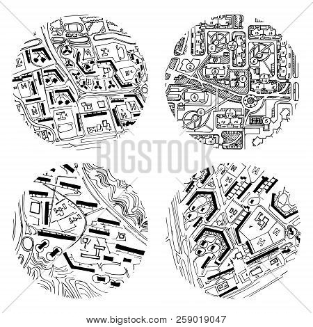 Architectural Ink Background, Construction Logo With Doodle Maps. Design Element Set For A Building,
