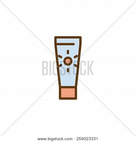 Suntan Cream Filled Outline Icon, Line Vector Sign, Linear Colorful Pictogram Isolated On White. Sun