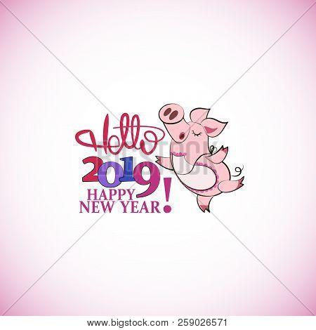 Cute Pink Pig Hello Vector Photo Free Trial Bigstock