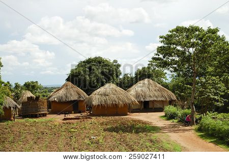 Traditional African Huts On A Farm - Zambia