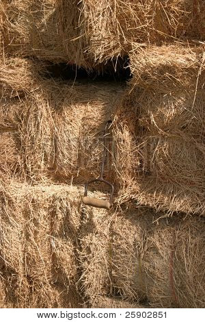 hay bails piled up
