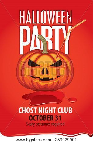 Vector Banner For Halloween Party With Pumpkins Head With Straw For Drinks In A Puddle Of Blood. Sca
