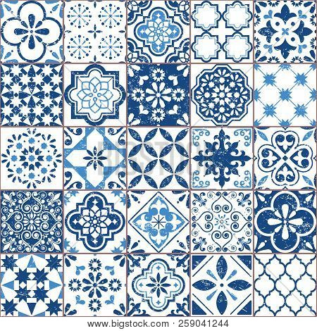 Vector Azulejo Tile Pattern, Portuguese Or Spanish Retro Old Tiles Mosaic, Mediterranean Seamless Na