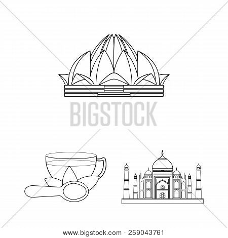Country India Outline Icons In Set Collection For Design.india And Landmark Vector Symbol Stock Web