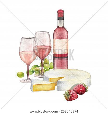 Watercolor Wine Glasses And Bottle Decorated Win Cheese, Strawberries And Grapes