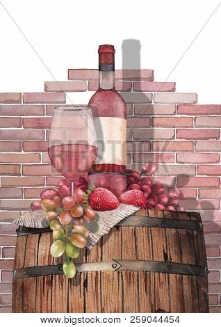 Watercolor Glass Of Rose Wine, Bottle, Strawberries And Grapes On The Wooden Barrel
