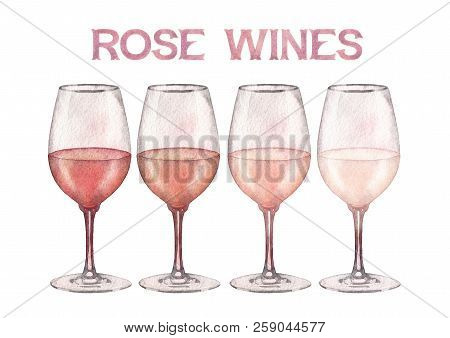 Four Watercolor Glasses Of Rose Wine Isolated On White Background