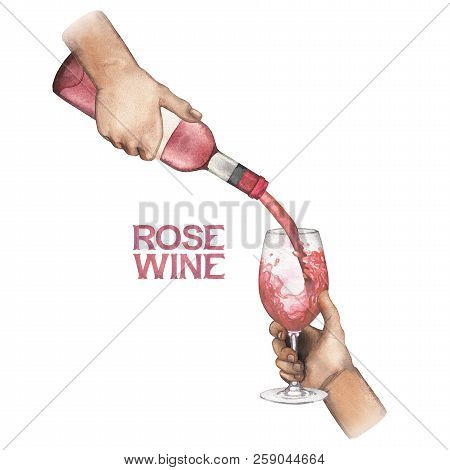 Watercolor Hand Pouring Rose Wine From Bottle Into Glass