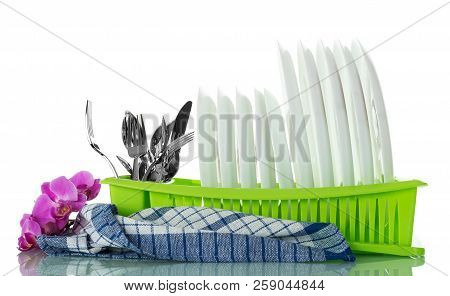 Clean Washed Kitchen Utensils In Drying On White