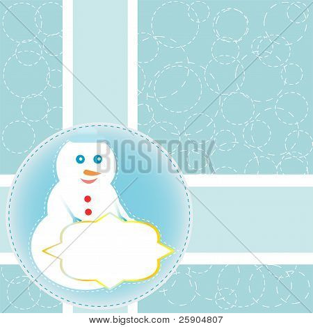Christmas card with snowman. Vector new year card