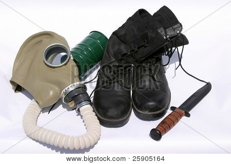 """""""army boots"""" """"gas mask"""" """"fighting knife"""" isolated on white"""