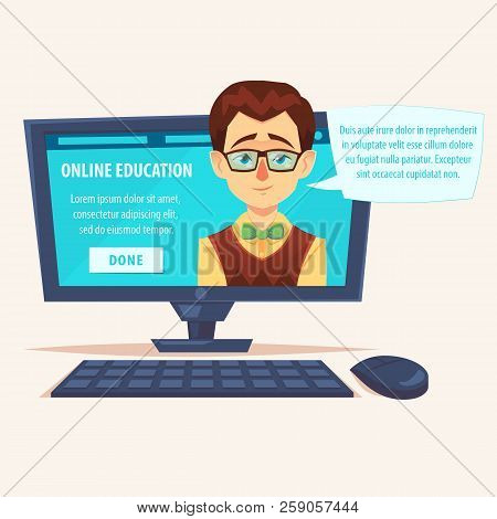 Flat Cartoon Cute Funny Teacher Student Geek On Laptop Screen With Chat Bubble Vector Illustration.