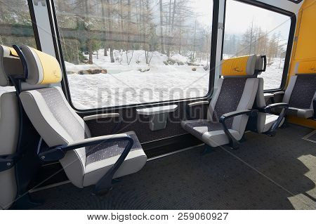 Zermatt, Switzerland - March 03, 2009: Interior Of The Second Class Panoramic Car In The Train Of Ma