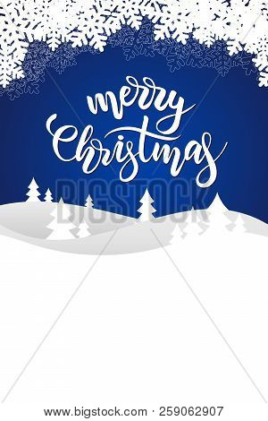 Christmas Greeting Card With Brush Calligraphy Merry Christmas On Blue Background With Winter Landsc