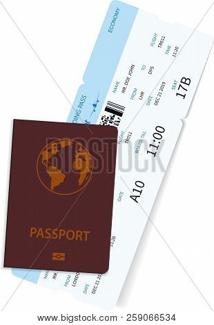International Passport With Airline Ticket Inside. International Tourism Travelling Concept. Blue Bo