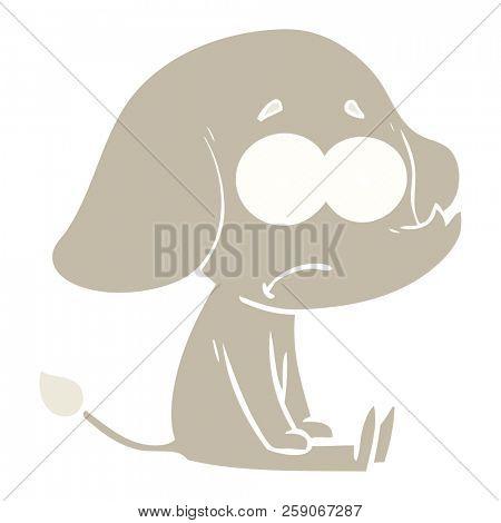 flat color style cartoon unsure elephant sat on floor