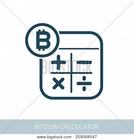 Calculator With Bitcoin Sign Icon. Vector Design Of Blockchain Technology, Bitcoin, Altcoins, Crypto