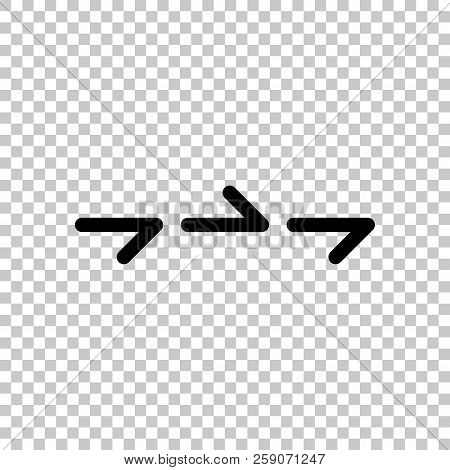 Few Arrows, Same Direction. Linear, Thin Outline. On Transparent