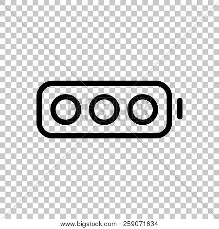 Simple Empty Battery, None Level. On Transparent Background.