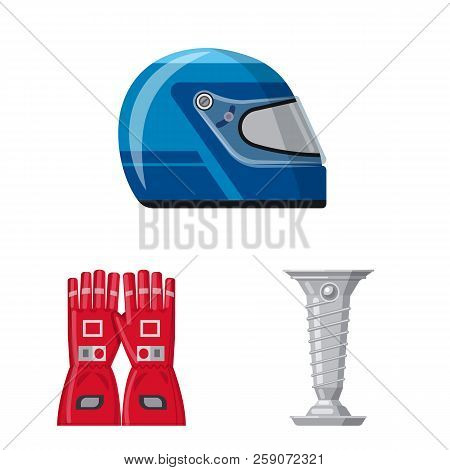 Isolated Object Of Car And Rally Sign. Collection Of Car And Race Stock Vector Illustration.