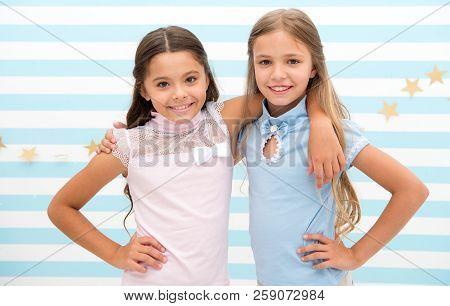 Friendship As Treasure Concept. Kids Schoolgirls Preteens Happy Together. Friendship From Childhood.