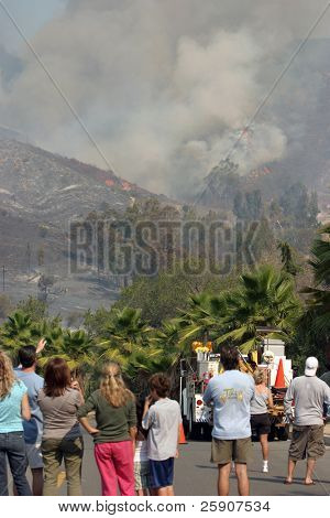 people watch from Portola hills as their and their neighbors homes and yards burn to the ground in the Santiago Canyon Wild Fires in California
